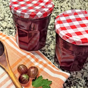 jam, red gooseberries, fruits